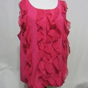 CATO, SZ 22/24W HOT PINK RUFFLES TOP W/BACK DESIGN